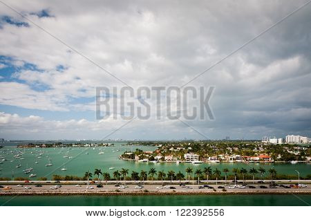 MacArthur causeway and Palm Island in intercoastal waters of Miami Florida