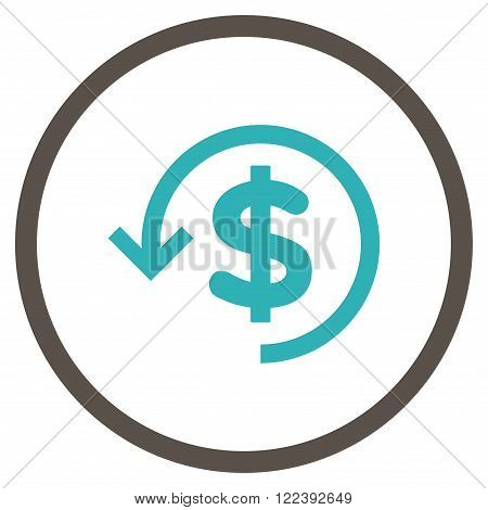 Refund vector bicolor icon. Picture style is flat refund rounded icon drawn with grey and cyan colors on a white background.