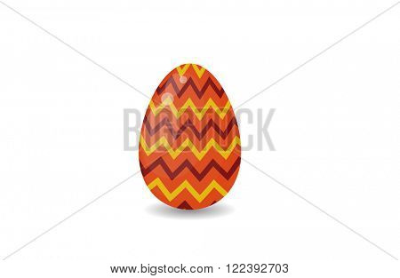 Color easter egg cartoon spring decoration and food egg symbol flat illustration. Colorful easter egg traditional painted easter food, easter egg seasonal ornament. Easter red colored egg