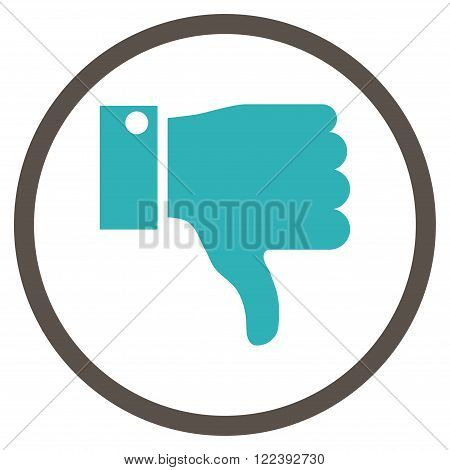 Thumb Down vector bicolor icon. Picture style is flat thumb down rounded icon drawn with grey and cyan colors on a white background.