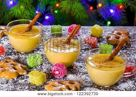 eggnog with cinnamon for christmas, top view
