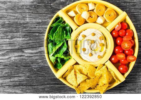 hummus, tomato, spinach, hommos, vegetable, appetizer, arabic, bean, bowl, carrots, top view