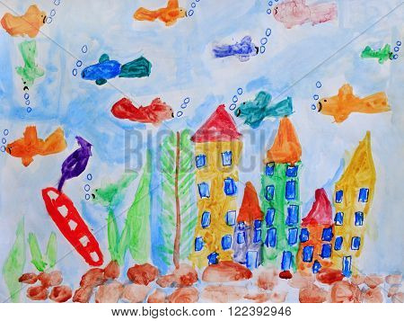 Multicolored child's drawing with fishes and underwater castles in the aquarium