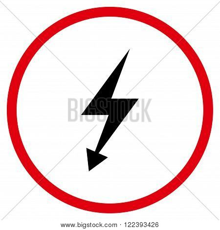 Electric Strike vector bicolor icon. Picture style is flat electric strike rounded icon drawn with intensive red and black colors on a white background.