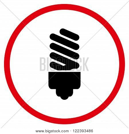 Fluorescent Bulb vector bicolor icon. Picture style is flat fluorescent bulb rounded icon drawn with intensive red and black colors on a white background.
