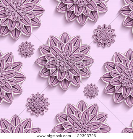 Beautiful trendy nature background seamless pattern with ornate purple violet summer 3d flower dahlia cutting paper. Floral modern pink wallpaper. Stylish greeting or invitation card. Vector illustration