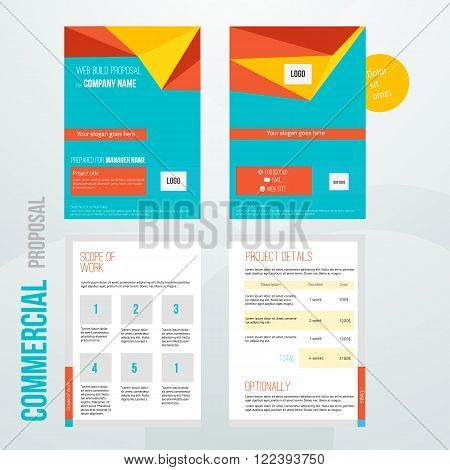 Vector commercial proposal design template for your business in bright colors. EPS10.