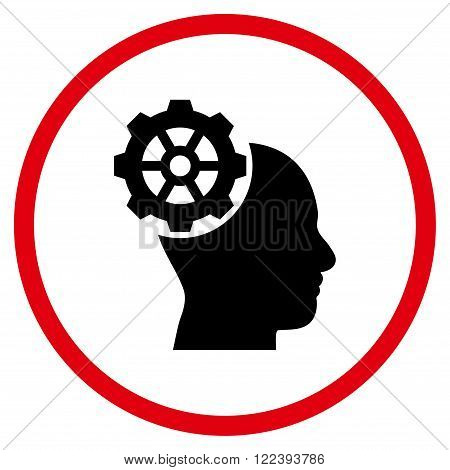 Head Gear vector bicolor icon. Picture style is flat head gear rounded icon drawn with intensive red and black colors on a white background.