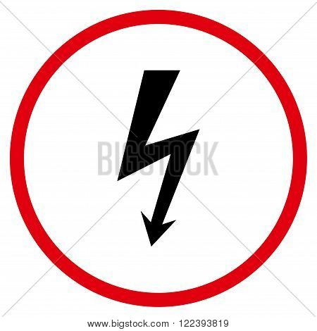 High Voltage vector bicolor icon. Picture style is flat high voltage rounded icon drawn with intensive red and black colors on a white background.