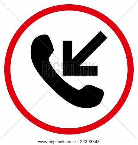 Incoming Call vector bicolor icon. Picture style is flat incoming call rounded icon drawn with intensive red and black colors on a white background.