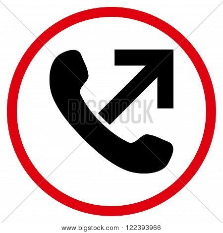Outgoing Call vector bicolor icon. Picture style is flat outgoing call rounded icon drawn with intensive red and black colors on a white background.