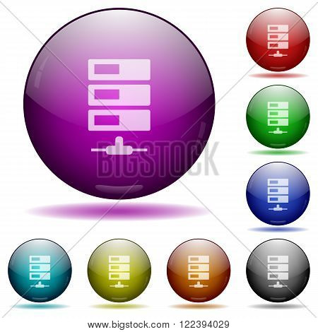 Set of color Data network glass sphere buttons with shadows.