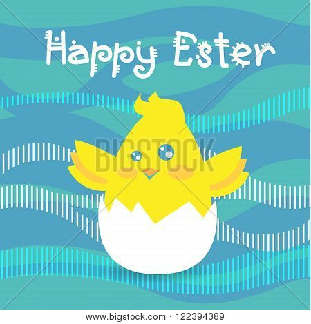 Easter Holiday Greeting Card With New Born Chicken Egg Abstract Background Flat Vector Illustration