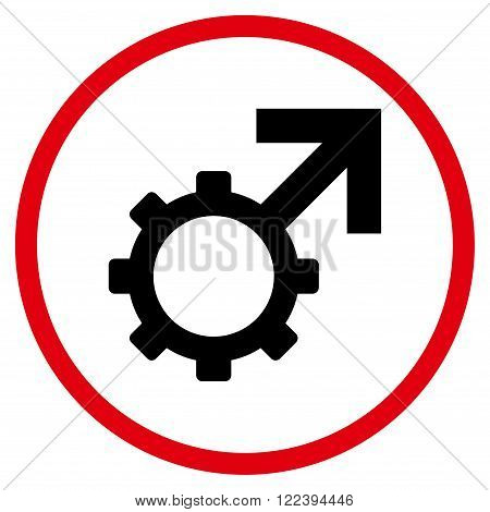 Technological Potence vector bicolor icon. Picture style is flat technological potence rounded icon drawn with intensive red and black colors on a white background.