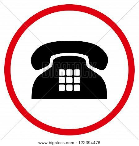 Tone Telephone vector bicolor icon. Picture style is flat tone phone rounded icon drawn with intensive red and black colors on a white background.