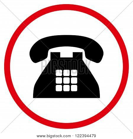 Tone Phone vector bicolor icon. Picture style is flat tone phone rounded icon drawn with intensive red and black colors on a white background.
