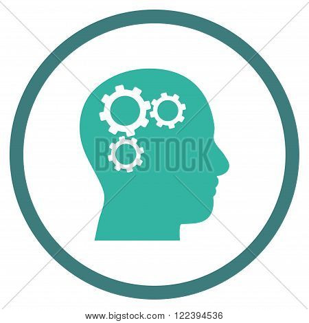 Brain Preferences vector bicolor icon. Picture style is flat brain gears rounded icon drawn with cobalt and cyan colors on a white background.