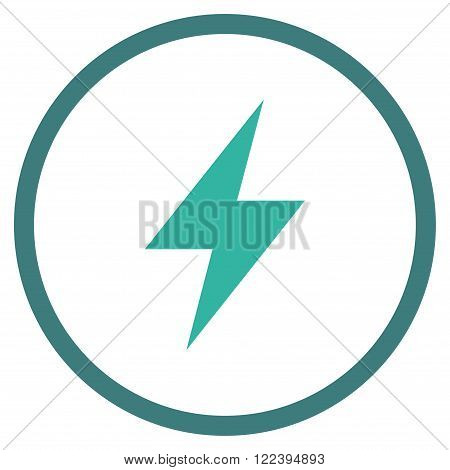 Electric Strike vector bicolor icon. Picture style is flat electric strike rounded icon drawn with cobalt and cyan colors on a white background.