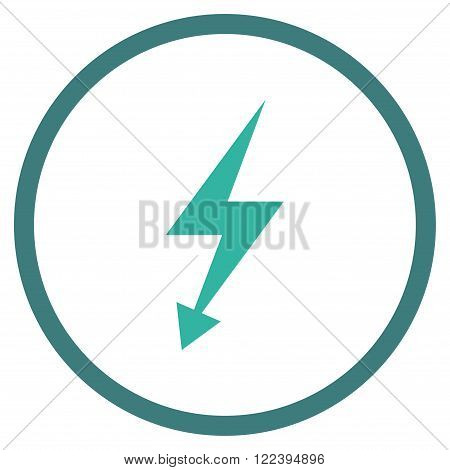 Electrical Strike vector bicolor icon. Picture style is flat electric strike rounded icon drawn with cobalt and cyan colors on a white background.