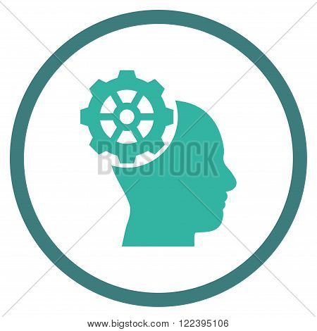 Head Gear vector bicolor icon. Picture style is flat head gear rounded icon drawn with cobalt and cyan colors on a white background.