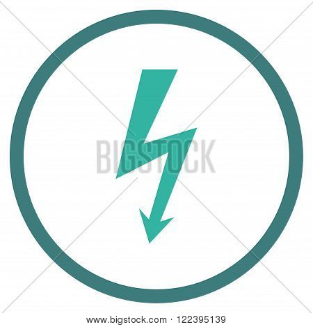 High Voltage vector bicolor icon. Picture style is flat high voltage rounded icon drawn with cobalt and cyan colors on a white background.