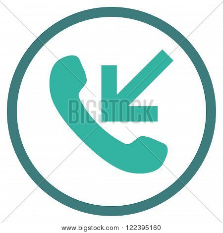 Incoming Call vector bicolor icon. Picture style is flat incoming call rounded icon drawn with cobalt and cyan colors on a white background.