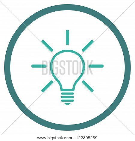 Light Bulb vector bicolor icon. Picture style is flat light bulb rounded icon drawn with cobalt and cyan colors on a white background.