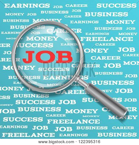 Job search concept. Word job with magnifying glass. Magnifier with red job text on a blue background with words related to work.