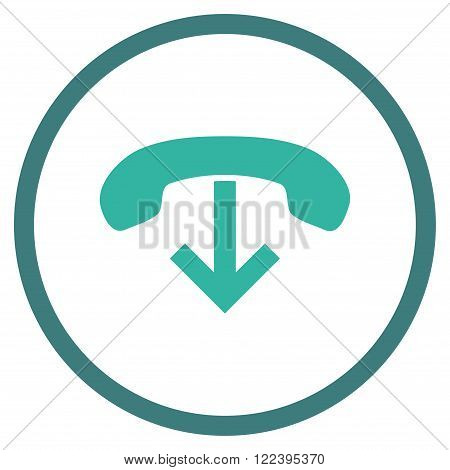 Phone Hang Up vector bicolor icon. Picture style is flat phone hang up rounded icon drawn with cobalt and cyan colors on a white background.