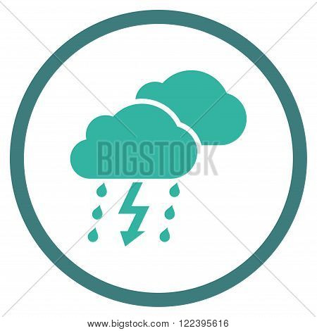 Thunderstorm vector bicolor icon. Picture style is flat thunderstorm rounded icon drawn with cobalt and cyan colors on a white background.
