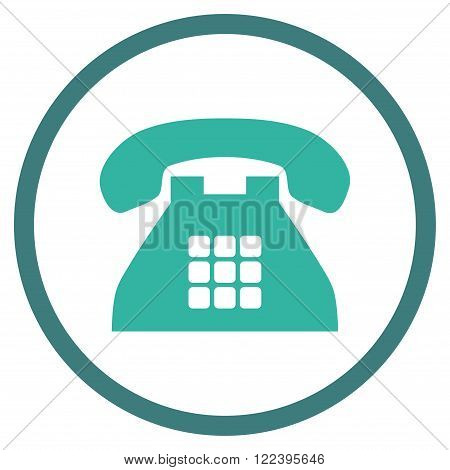 Tone Telephone vector bicolor icon. Picture style is flat tone phone rounded icon drawn with cobalt and cyan colors on a white background.