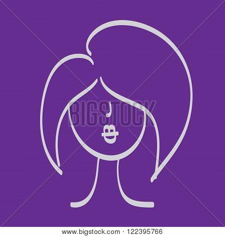 Hand Drawn Woman Face Model Hair Vector.