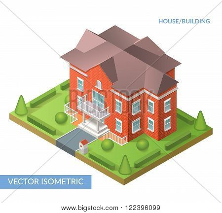 House and building. Vector isometric flat illustration with house, gate and yard. Eps 10