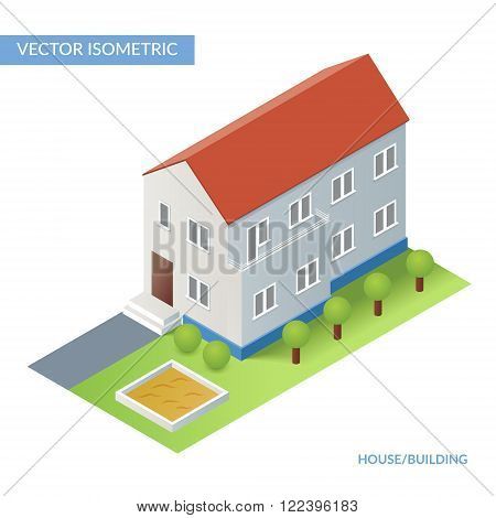 House and building. Vector isometric flat illustration with house and yard. Eps 10
