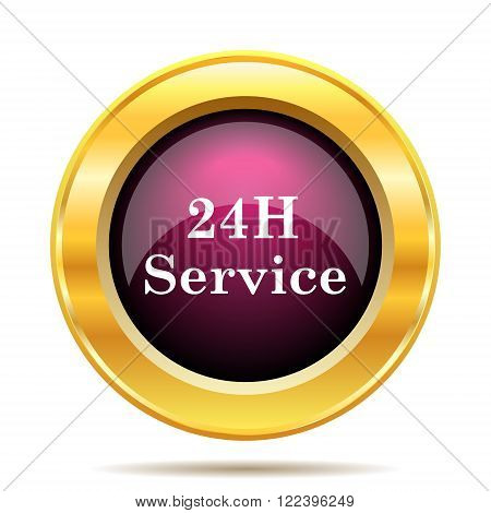 24H Service icon. Internet button on white background.