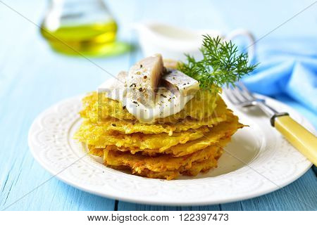 Potato Fritters With Herring.