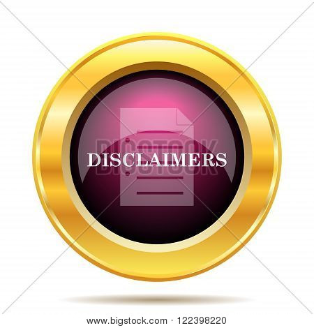 Disclaimers icon. Internet button on white background.