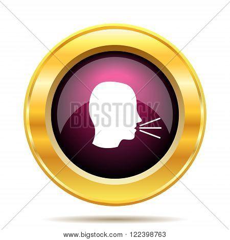 Talking icon. Internet button on white background.