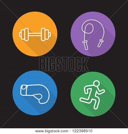 Sport flat linear icons set. Gym dumbbell, skipping rope, boxing glove, running man. Long shadow outline symbol concepts. Bodybuilding and powerlifting line art illustrations on color circles. Vector