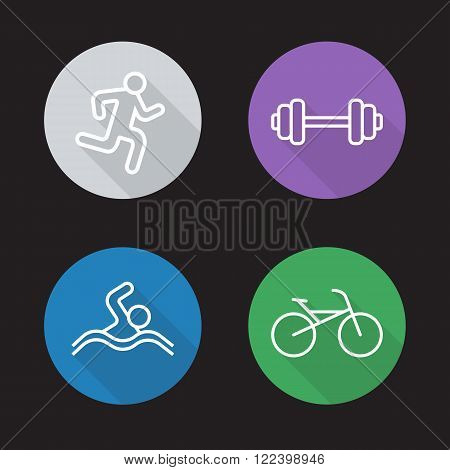 Sport flat linear icons set. Running man, gym workout symbol, swimmer and bicycle pictograms. Athletic activity. Long shadow outline logo concepts. Line art illustrations on color circles. Vector