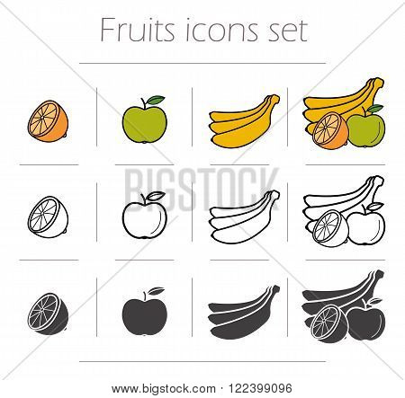 Fruits icons set. Green color apple with leaf. Banana black silhouette illustration. Half orange linear symbol. Fruits still life. Vector