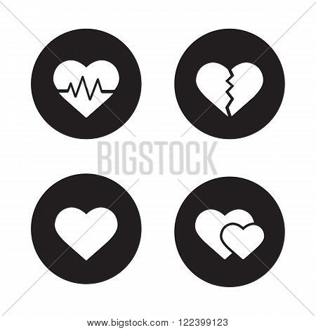 Heart shapes black icons set. EKG symbol, broken heart with crack, love sign, two sweethearts. Cardiology center, heart attack, heartbeat rhythm. White silhouettes illustrations. Vector logo concepts