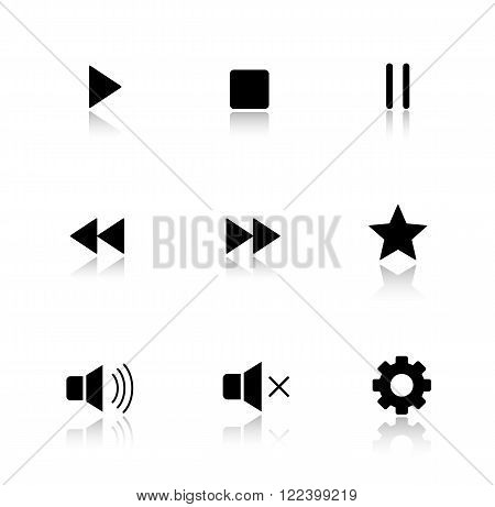 Media player drop shadow buttons set. Multimedia app interface icons. Play, pause and stop glossy symbols. Forward and backward rewind, sound control. Cast shadow silhouette illustrations. Vector