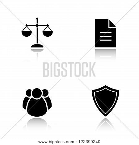 Lawyer drop shadow icons set. Jurisprudence and law, scale of justice and court jury, protection shield and case document black symbols. Cast shadow logo concepts. Vector silhouette illustrations