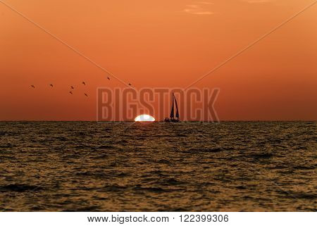 Sailboat sunset is a silhoueette of a sailboat with a white hot burning sun setting on the ocean horizon against a vivid orange sunset sky.