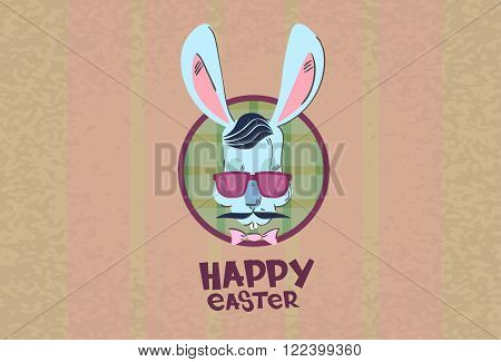 Easter Holiday Rabbit Bunny Hipster Style Mustache Glasses Flat Vector Illustration