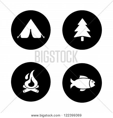 Outdoor picnic black icons set. Camping tent, forest tree symbol, burning campfire, fishing sign. Wild nature recreation. Tourism and trekking white silhouettes illustrations. Logo concepts. Vector