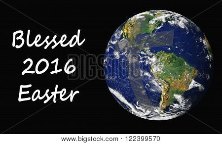2016 easter card showing easter blessings covering the earth