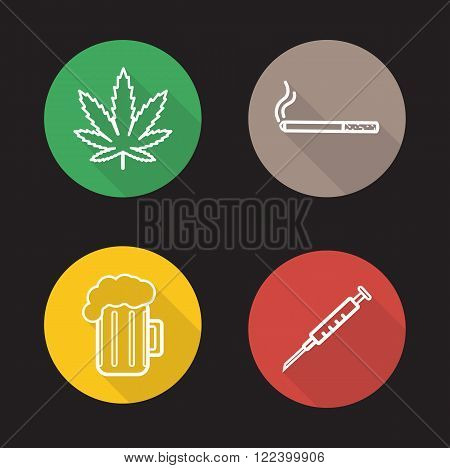 Bad habits linear icons set. Green marijuana leaf, cigarette smoking, glass of beer, drug use. Addictions long shadow outline logo concepts. White line illustrations on color circles. Vector