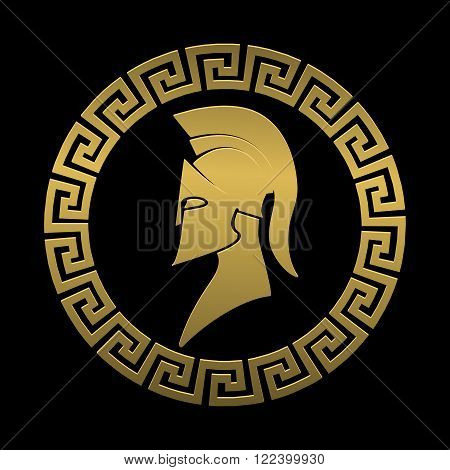 On the image is presented Golden symbol Spartan warrior on a black background